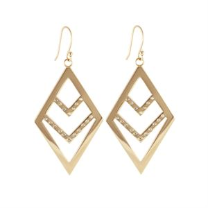 Picture of Gold Diamond Chevron Earrings